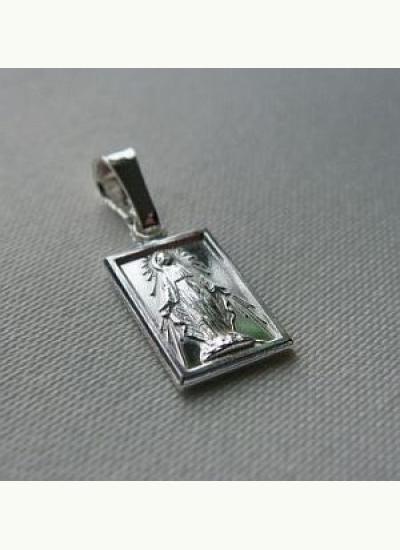 Medalik Srebrny Matka Boska Niepokalana Prostokąt