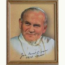 Obraz w drewnianej ramie - Święty Jan Paweł II
