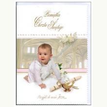 Pamiątka Chrztu Świętego dla dziewczynki- kartka okolicznościowa