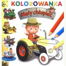 Traktor. Kolorowanka. Mały chłopiec